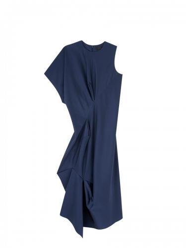 Silk Asymmetric Drape Back Dress RGB